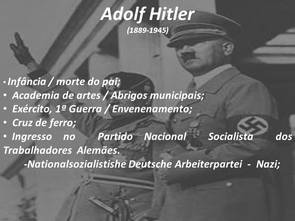 Adolf Hitler (1889-1945) Infância / morte do pai; Academia de artes / Abrigos municipais; Exército, 1ª Guerra / Envenenamento; Cruz de ferro; Ingresso