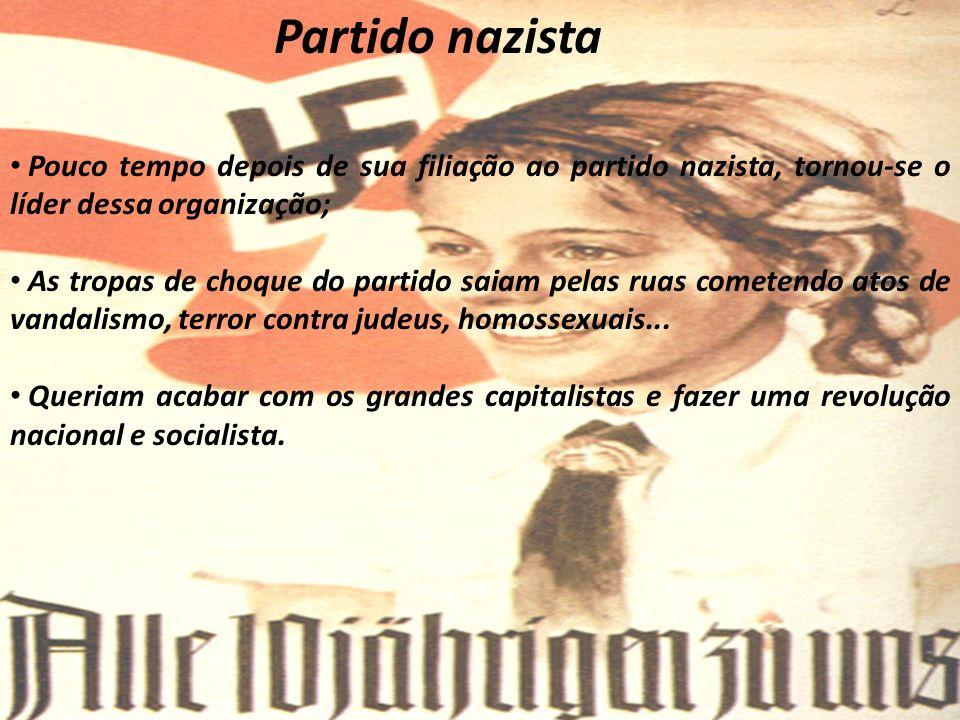 Partido nazista Pouco tempo depois de sua filiação ao partido nazista, tornou-se o líder dessa organização; As tropas de choque do partido saiam pelas