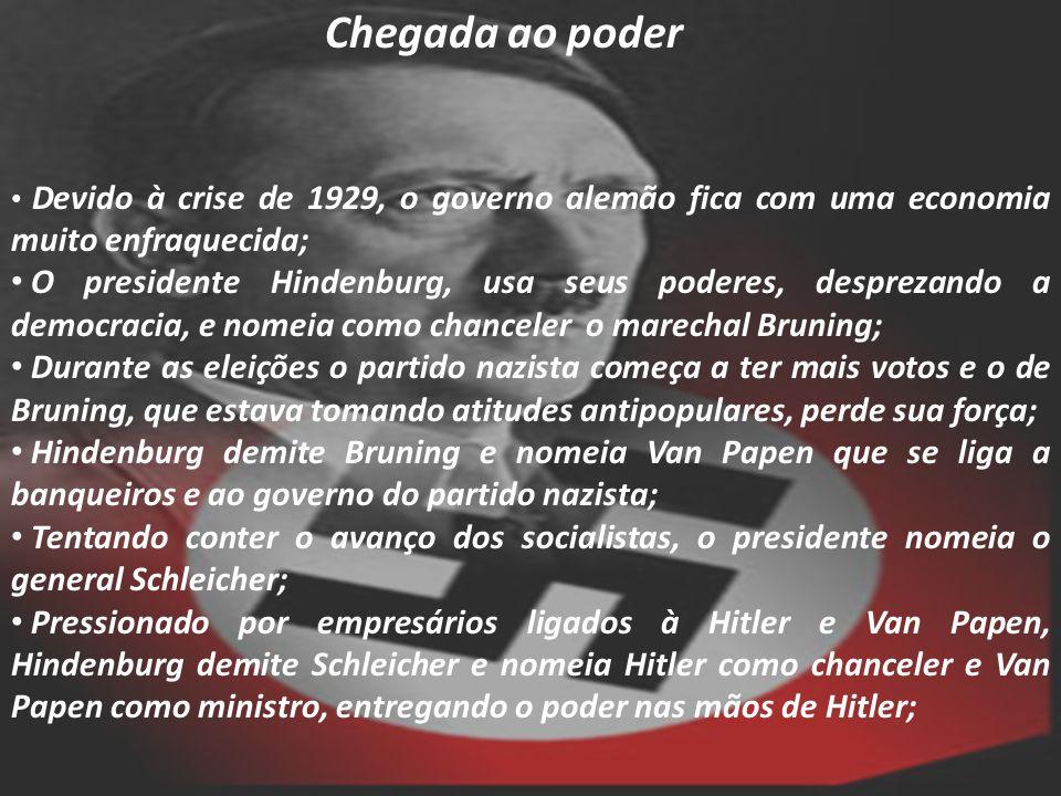 Chegada ao poder Devido à crise de 1929, o governo alemão fica com uma economia muito enfraquecida; O presidente Hindenburg, usa seus poderes, desprez