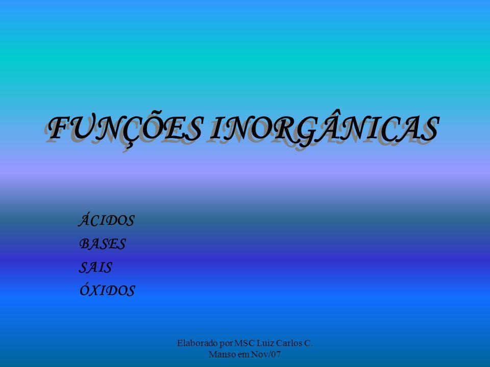 Elaborado por MSC Luiz Carlos C. Manso em Nov/07 FUNÇÕES INORGÂNICAS ÁCIDOS BASES SAIS ÓXIDOS