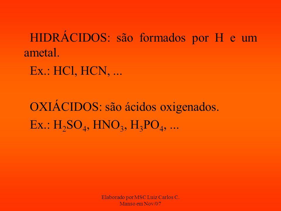 Elaborado por MSC Luiz Carlos C. Manso em Nov/07 HIDRÁCIDOS: são formados por H e um ametal. Ex.: HCl, HCN,... OXIÁCIDOS: são ácidos oxigenados. Ex.: