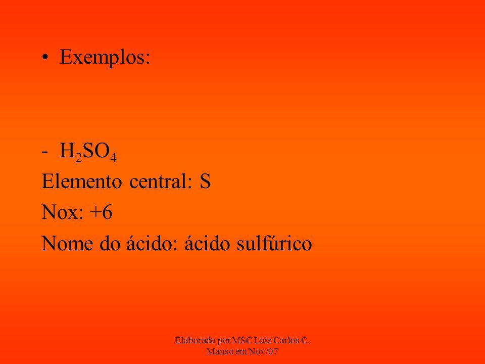 Elaborado por MSC Luiz Carlos C. Manso em Nov/07 Exemplos: -H 2 SO 4 Elemento central: S Nox: +6 Nome do ácido: ácido sulfúrico