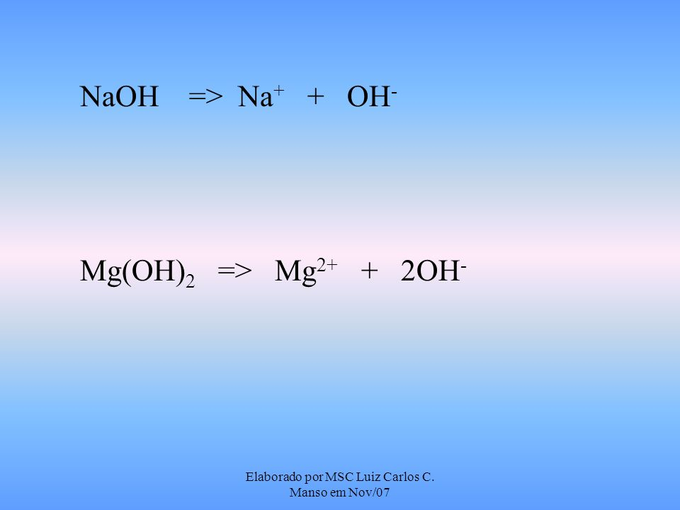 Elaborado por MSC Luiz Carlos C. Manso em Nov/07 NaOH => Na + + OH - Mg(OH) 2 => Mg 2+ + 2OH -