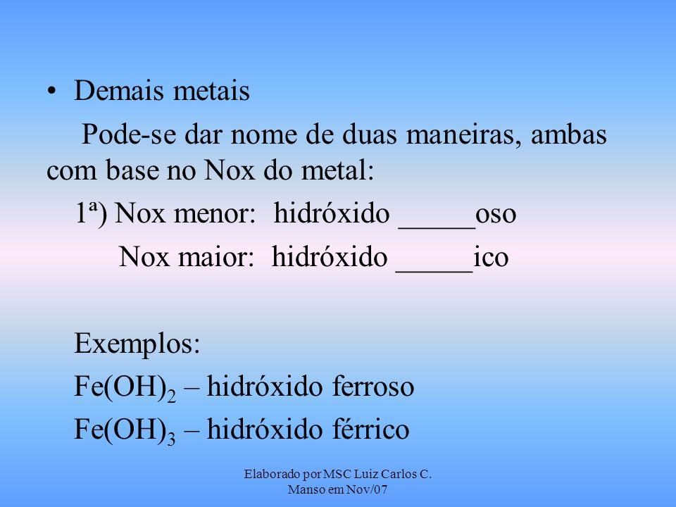 Elaborado por MSC Luiz Carlos C. Manso em Nov/07 Demais metais Pode-se dar nome de duas maneiras, ambas com base no Nox do metal: 1ª) Nox menor: hidró