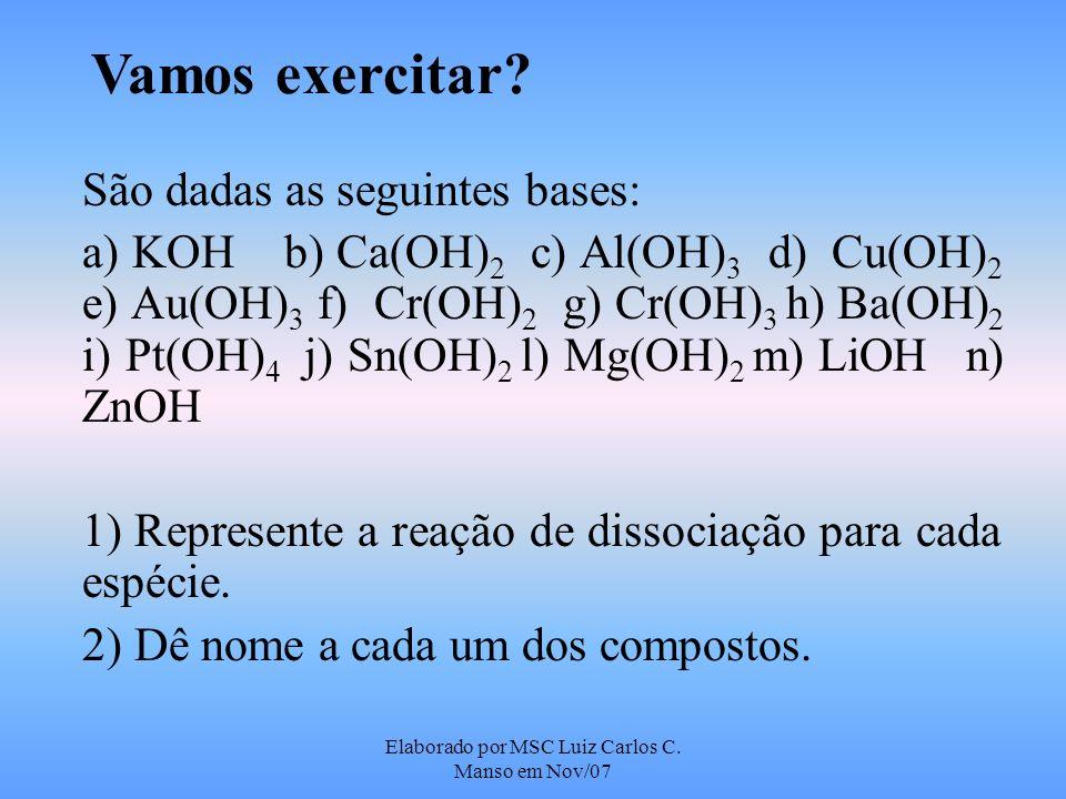 Elaborado por MSC Luiz Carlos C. Manso em Nov/07 Vamos exercitar? São dadas as seguintes bases: a) KOH b) Ca(OH) 2 c) Al(OH) 3 d) Cu(OH) 2 e) Au(OH) 3