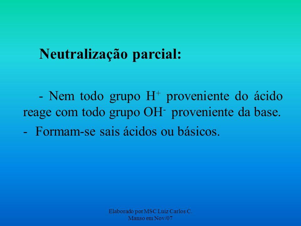 Elaborado por MSC Luiz Carlos C. Manso em Nov/07 Neutralização parcial: - Nem todo grupo H + proveniente do ácido reage com todo grupo OH - provenient