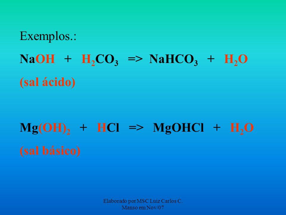 Elaborado por MSC Luiz Carlos C. Manso em Nov/07 Exemplos.: NaOH + H 2 CO 3 => NaHCO 3 + H 2 O (sal ácido) Mg(OH) 2 + HCl => MgOHCl + H 2 O (sal básic