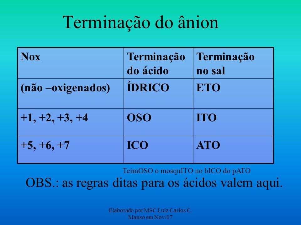 Elaborado por MSC Luiz Carlos C. Manso em Nov/07 Terminação do ânion NoxTerminação do ácido Terminação no sal (não –oxigenados)ÍDRICOETO +1, +2, +3, +