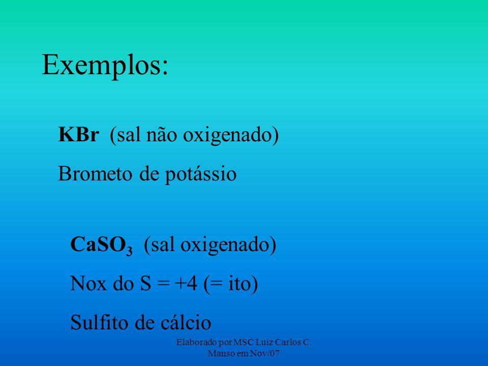 Elaborado por MSC Luiz Carlos C. Manso em Nov/07 Exemplos: KBr (sal não oxigenado) Brometo de potássio CaSO 3 (sal oxigenado) Nox do S = +4 (= ito) Su