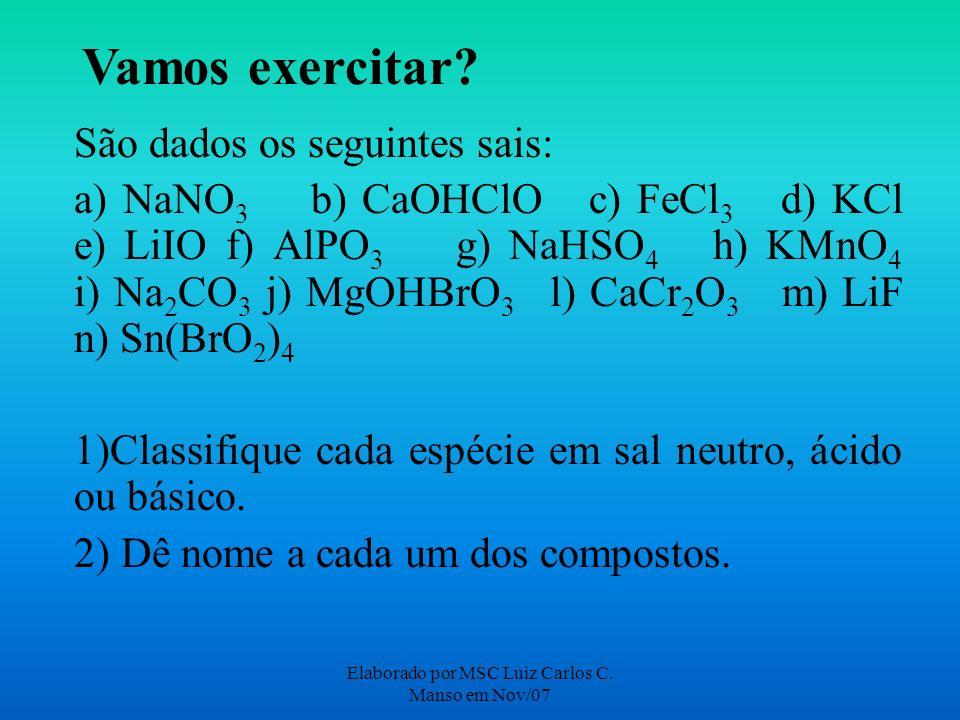 Elaborado por MSC Luiz Carlos C. Manso em Nov/07 Vamos exercitar? São dados os seguintes sais: a) NaNO 3 b) CaOHClO c) FeCl 3 d) KCl e) LiIO f) AlPO 3