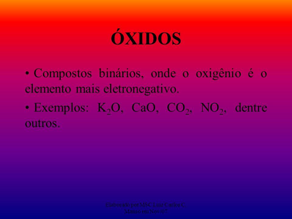 Elaborado por MSC Luiz Carlos C. Manso em Nov/07 ÓXIDOS Compostos binários, onde o oxigênio é o elemento mais eletronegativo. Exemplos: K 2 O, CaO, CO