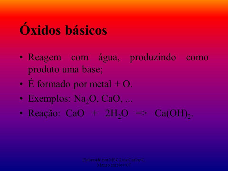 Elaborado por MSC Luiz Carlos C. Manso em Nov/07 Óxidos básicos Reagem com água, produzindo como produto uma base; É formado por metal + O. Exemplos: