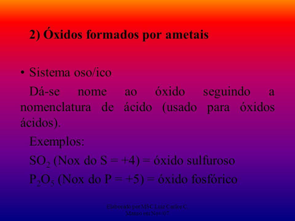 Elaborado por MSC Luiz Carlos C. Manso em Nov/07 2) Óxidos formados por ametais Sistema oso/ico Dá-se nome ao óxido seguindo a nomenclatura de ácido (