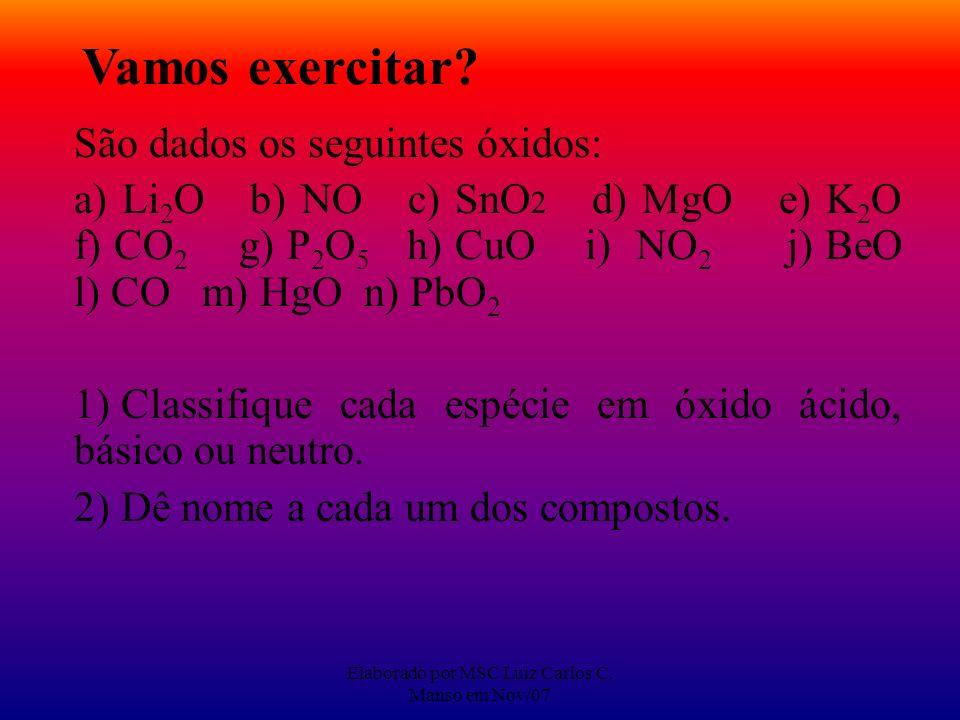 Elaborado por MSC Luiz Carlos C. Manso em Nov/07 Vamos exercitar? São dados os seguintes óxidos: a) Li 2 O b) NO c) SnO 2 d) MgO e) K 2 O f) CO 2 g) P