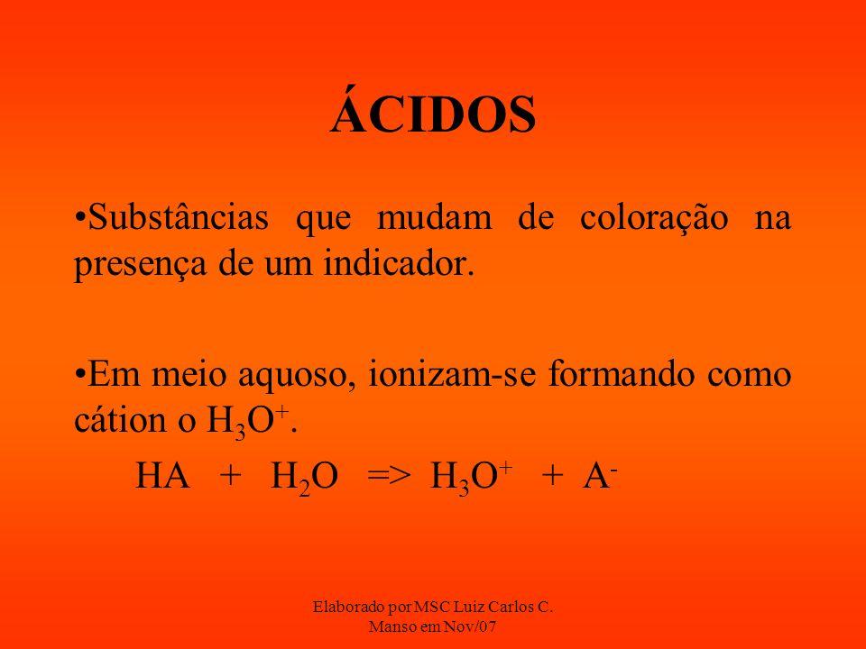Elaborado por MSC Luiz Carlos C. Manso em Nov/07 ÁCIDOS Substâncias que mudam de coloração na presença de um indicador. Em meio aquoso, ionizam-se for