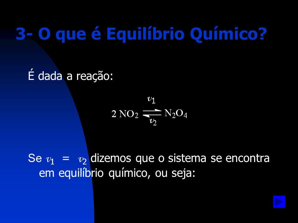 Equilíbrio Químico: Equilíbrio Químico: situação na qual as concentrações dos participantes da reação não se alteram, pois as velocidades direta e inversa se processam na mesma velocidade.