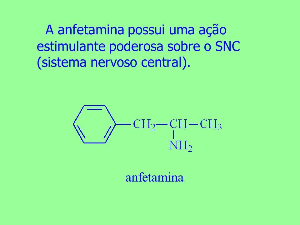 A anfetamina possui uma ação estimulante poderosa sobre o SNC (sistema nervoso central). anfetamina