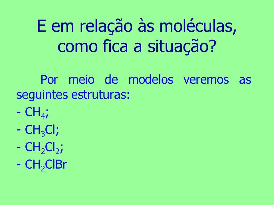 E em relação às moléculas, como fica a situação? Por meio de modelos veremos as seguintes estruturas: -CH 4 ; -CH 3 Cl; -CH 2 Cl 2 ; -CH 2 ClBr