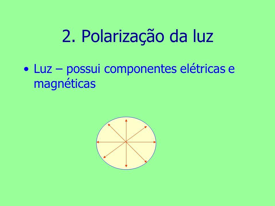 2. Polarização da luz Luz – possui componentes elétricas e magnéticas