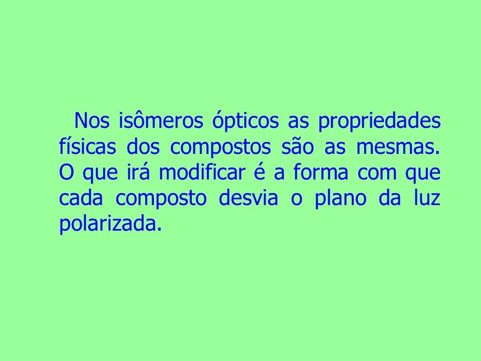 Nos isômeros ópticos as propriedades físicas dos compostos são as mesmas. O que irá modificar é a forma com que cada composto desvia o plano da luz po