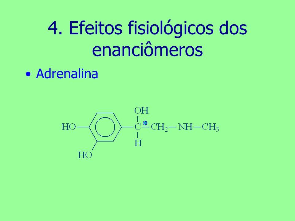 4. Efeitos fisiológicos dos enanciômeros Adrenalina