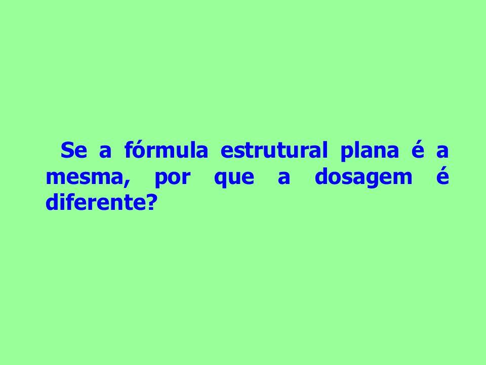 Se a fórmula estrutural plana é a mesma, por que a dosagem é diferente?