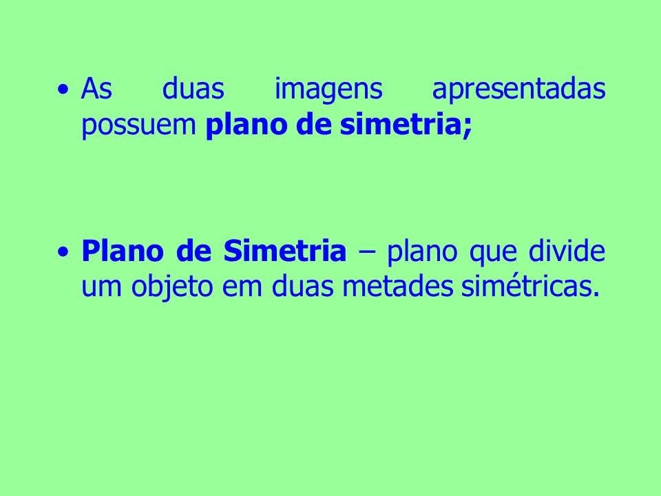 As duas imagens apresentadas possuem plano de simetria; Plano de Simetria – plano que divide um objeto em duas metades simétricas.