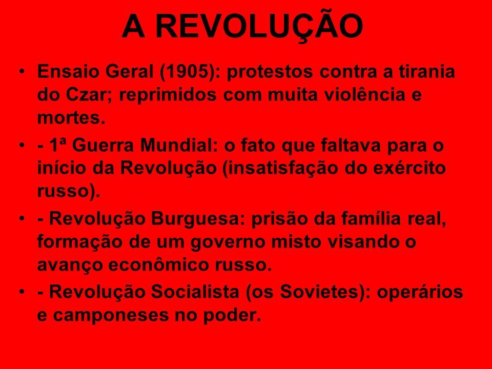 A REVOLUÇÃO Ensaio Geral (1905): protestos contra a tirania do Czar; reprimidos com muita violência e mortes. - 1ª Guerra Mundial: o fato que faltava