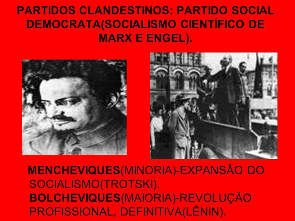 PARTIDOS CLANDESTINOS: PARTIDO SOCIAL DEMOCRATA(SOCIALISMO CIENTÍFICO DE MARX E ENGEL). MENCHEVIQUES(MINORIA)-EXPANSÂO DO SOCIALISMO(TROTSKI). BOLCHEV