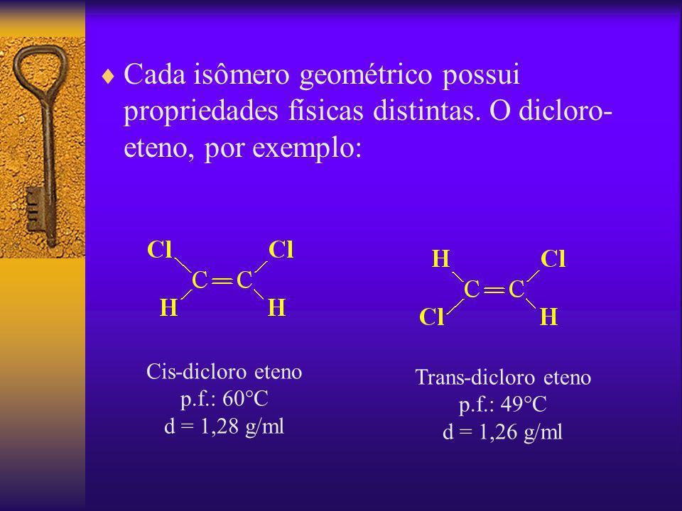Cada isômero geométrico possui propriedades físicas distintas. O dicloro- eteno, por exemplo: Cis-dicloro eteno p.f.: 60°C d = 1,28 g/ml Trans-dicloro