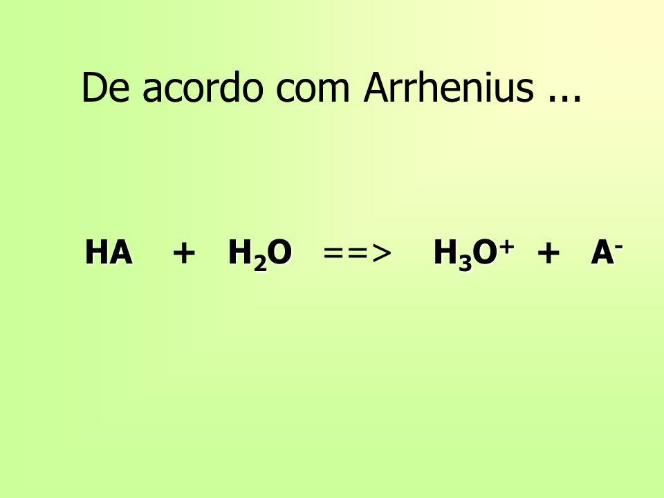 De acordo com Arrhenius... HAH 2 OH 3 O + A - HA + H 2 O ==> H 3 O + + A -