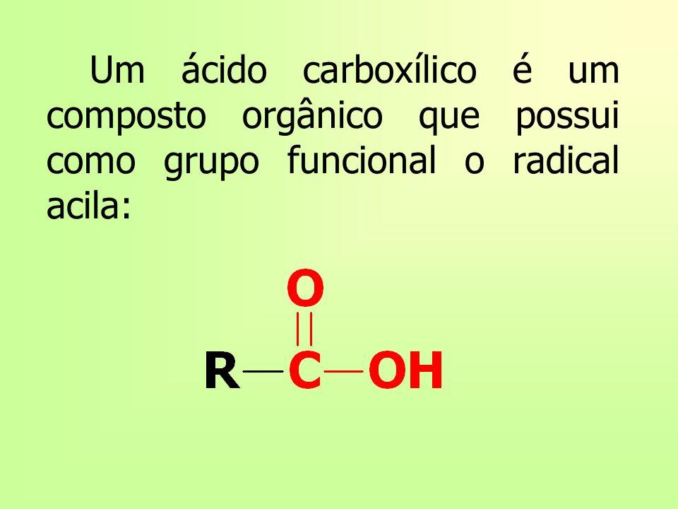 Um ácido carboxílico é um composto orgânico que possui como grupo funcional o radical acila: