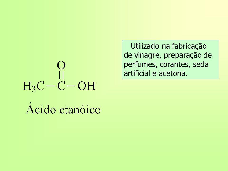 Utilizado na fabricação de vinagre, preparação de perfumes, corantes, seda artificial e acetona.