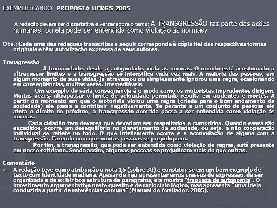 EXEMPLIFICANDO PROPOSTA UFRGS 2005 A redação deverá ser dissertativa e versar sobre o tema: A TRANSGRESSÃO faz parte das ações humanas, ou ela pode se