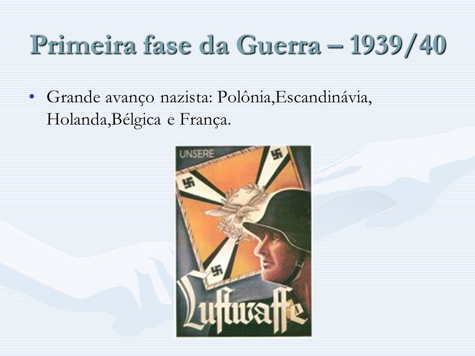 Primeira fase da Guerra – 1939/40 Grande avanço nazista: Polônia,Escandinávia, Holanda,Bélgica e França.Grande avanço nazista: Polônia,Escandinávia, H