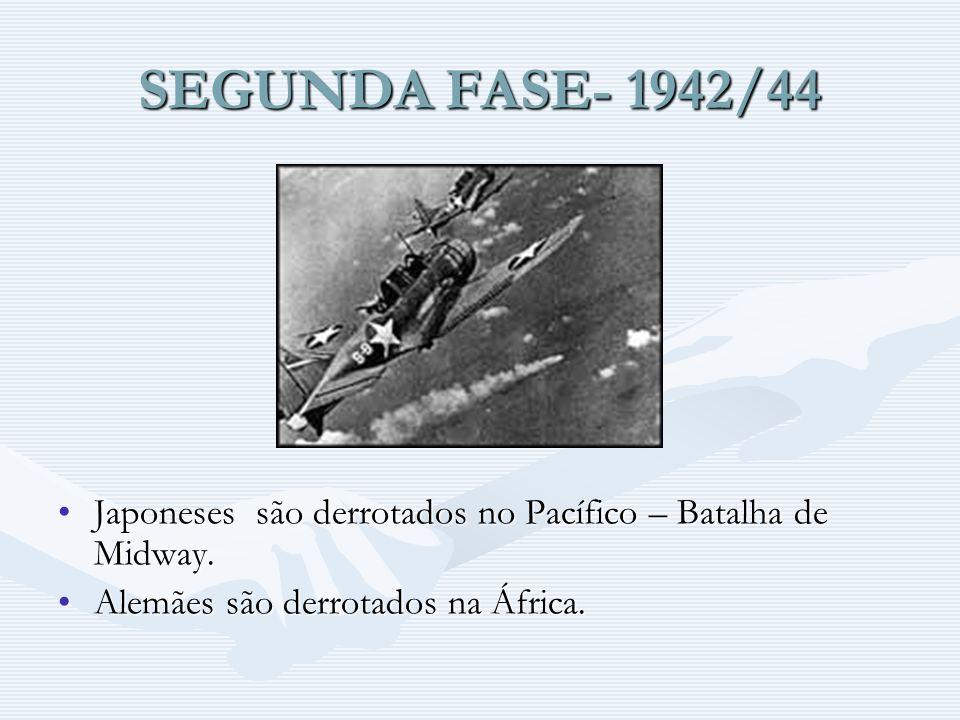 SEGUNDA FASE- 1942/44 Japoneses são derrotados no Pacífico – Batalha de Midway. Alemães são derrotados na África.