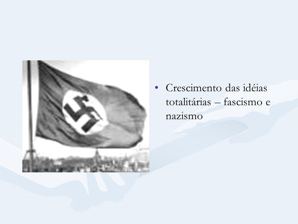 Crescimento das idéias totalitárias – fascismo e nazismo