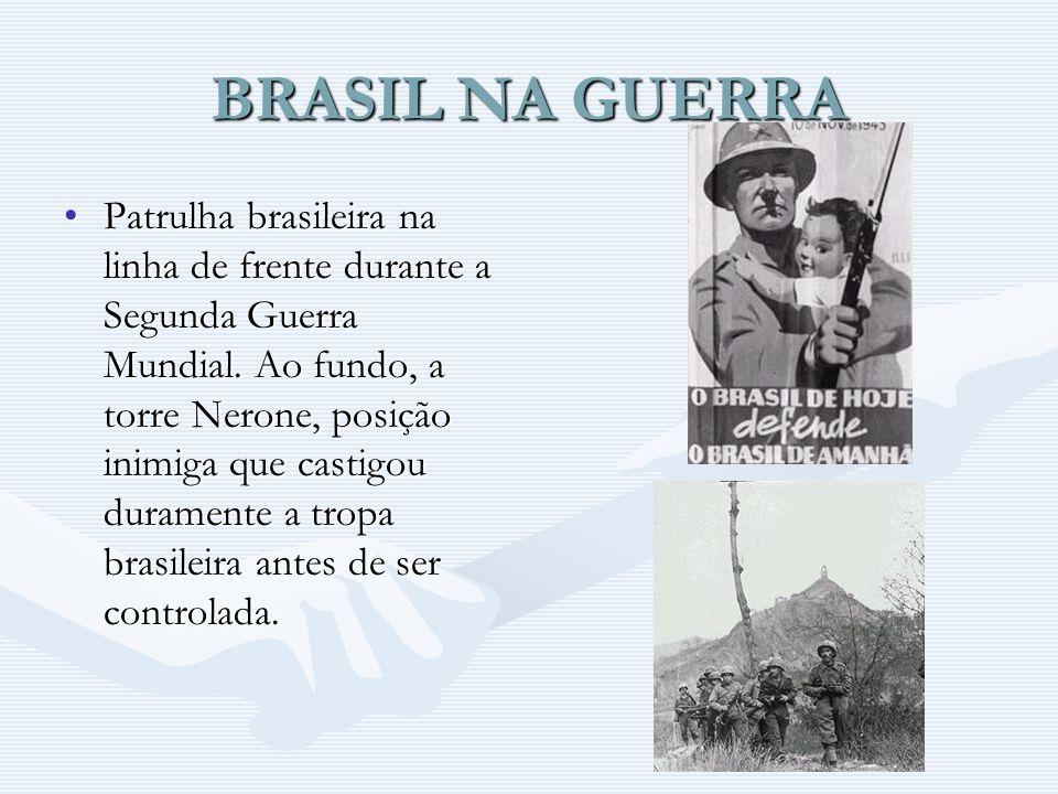 BRASIL NA GUERRA Patrulha brasileira na linha de frente durante a Segunda Guerra Mundial. Ao fundo, a torre Nerone, posição inimiga que castigou duram