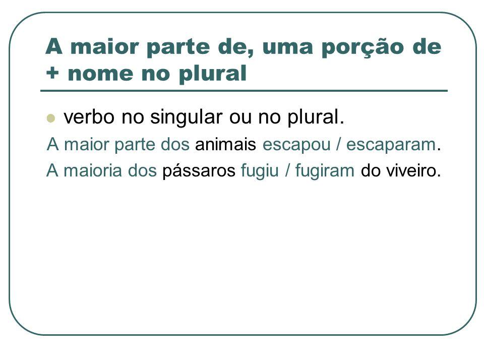 A maior parte de, uma porção de + nome no plural verbo no singular ou no plural. A maior parte dos animais escapou / escaparam. A maioria dos pássaros