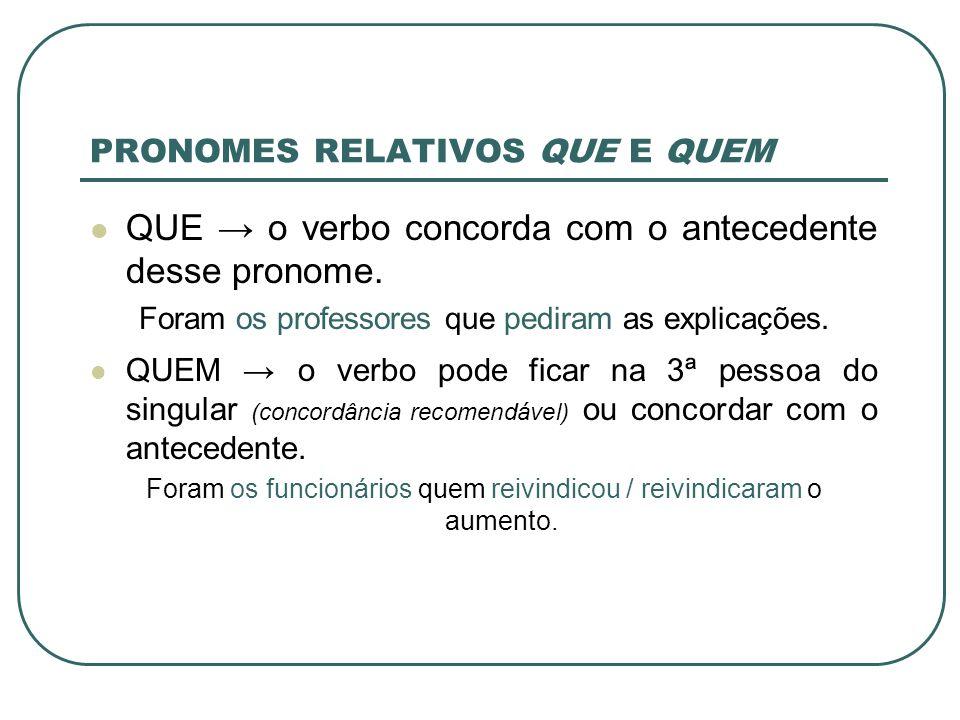 PRONOMES RELATIVOS QUE E QUEM QUE o verbo concorda com o antecedente desse pronome.