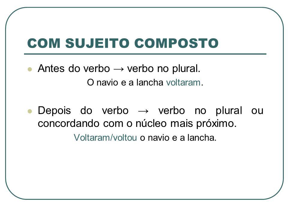 COM SUJEITO COMPOSTO Antes do verbo verbo no plural. O navio e a lancha voltaram. Depois do verbo verbo no plural ou concordando com o núcleo mais pró