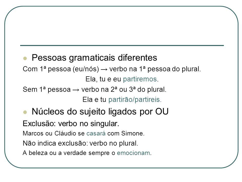 Pessoas gramaticais diferentes Com 1ª pessoa (eu/nós) verbo na 1ª pessoa do plural. Ela, tu e eu partiremos. Sem 1ª pessoa verbo na 2ª ou 3ª do plural