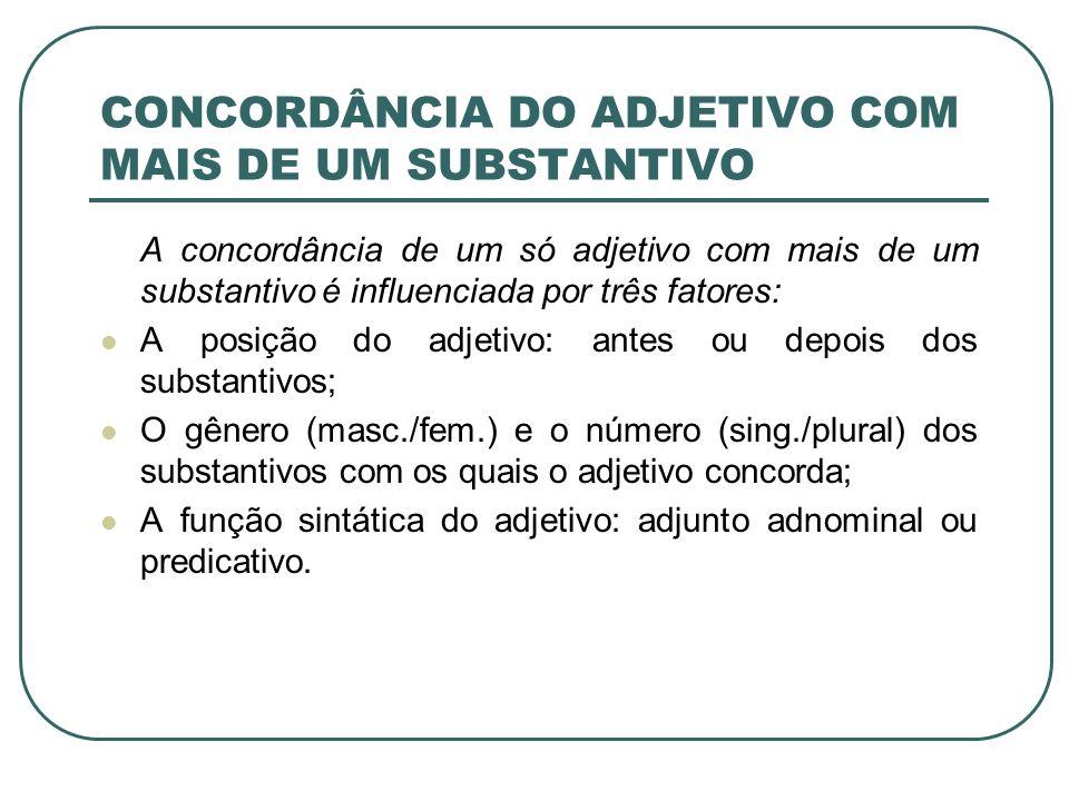 CONCORDÂNCIA DO ADJETIVO COM MAIS DE UM SUBSTANTIVO A concordância de um só adjetivo com mais de um substantivo é influenciada por três fatores: A posição do adjetivo: antes ou depois dos substantivos; O gênero (masc./fem.) e o número (sing./plural) dos substantivos com os quais o adjetivo concorda; A função sintática do adjetivo: adjunto adnominal ou predicativo.