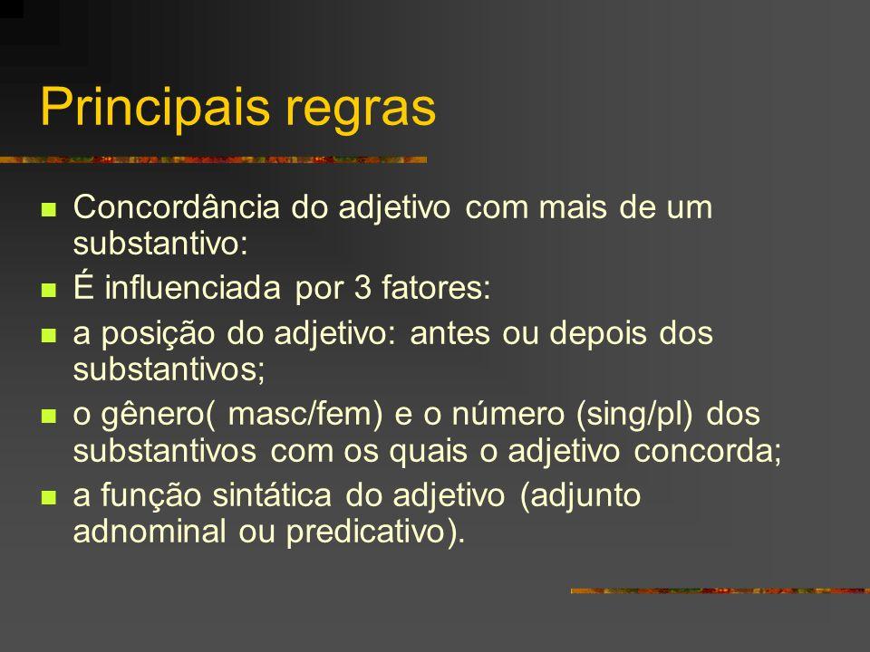 Principais regras Concordância do adjetivo com mais de um substantivo: É influenciada por 3 fatores: a posição do adjetivo: antes ou depois dos substa