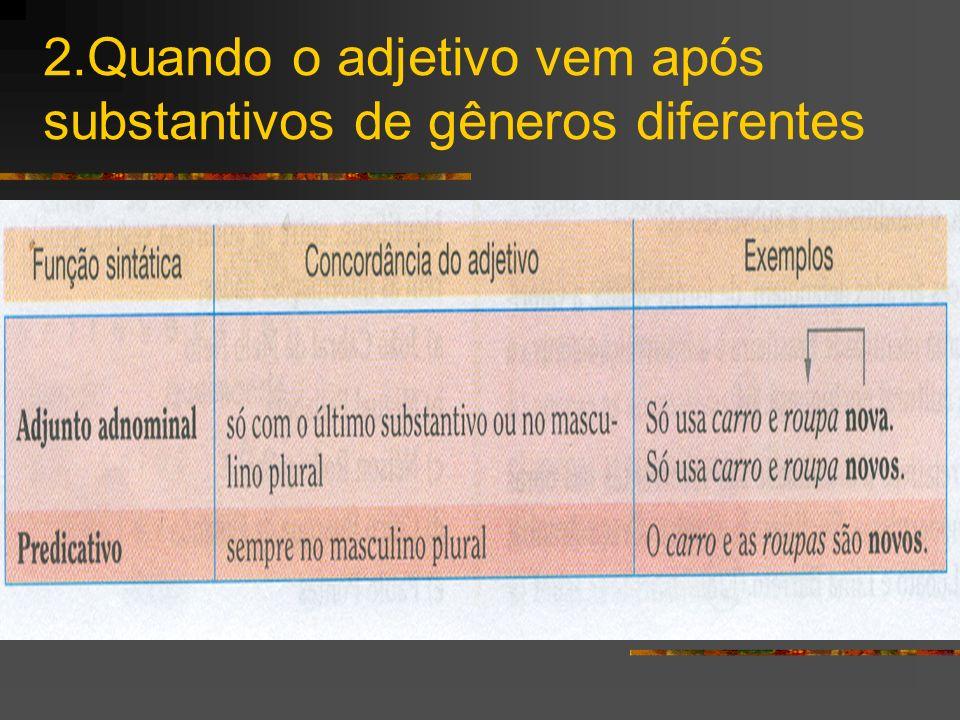 2.Quando o adjetivo vem após substantivos de gêneros diferentes