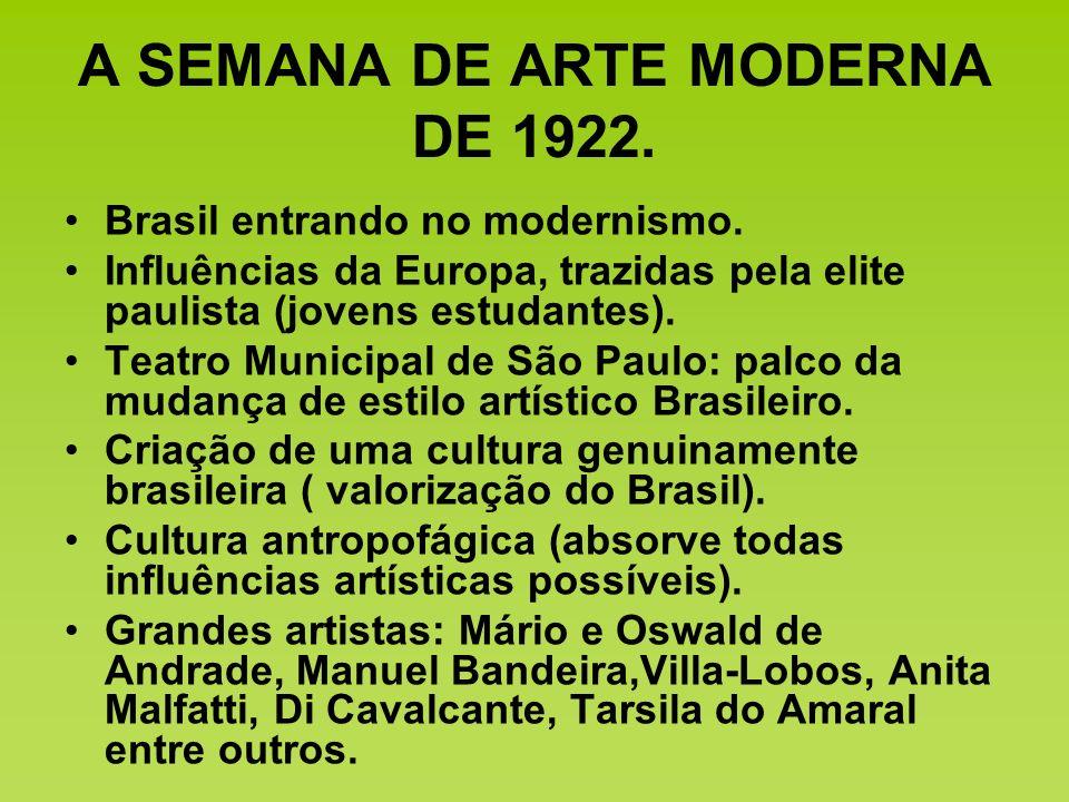 A SEMANA DE ARTE MODERNA DE 1922. Brasil entrando no modernismo. Influências da Europa, trazidas pela elite paulista (jovens estudantes). Teatro Munic