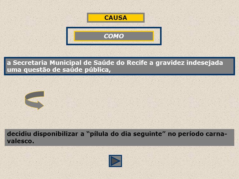 a Secretaria Municipal de Saúde do Recife a gravidez indesejada questão de saúde pública, decidiu disponibilizar a pílula do dia seguinte no período c