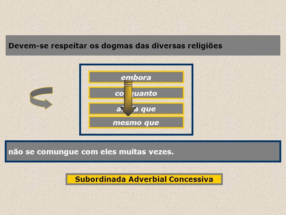 Devem-se respeitar os dogmas das diversas religiões embora não se comungue com eles muitas vezes. conquanto ainda que não se comungue com eles muitas