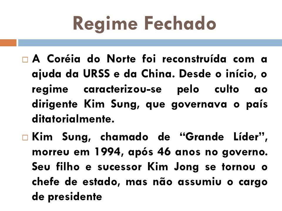 A Coréia do Norte foi reconstruída com a ajuda da URSS e da China. Desde o início, o regime caracterizou-se pelo culto ao dirigente Kim Sung, que gove