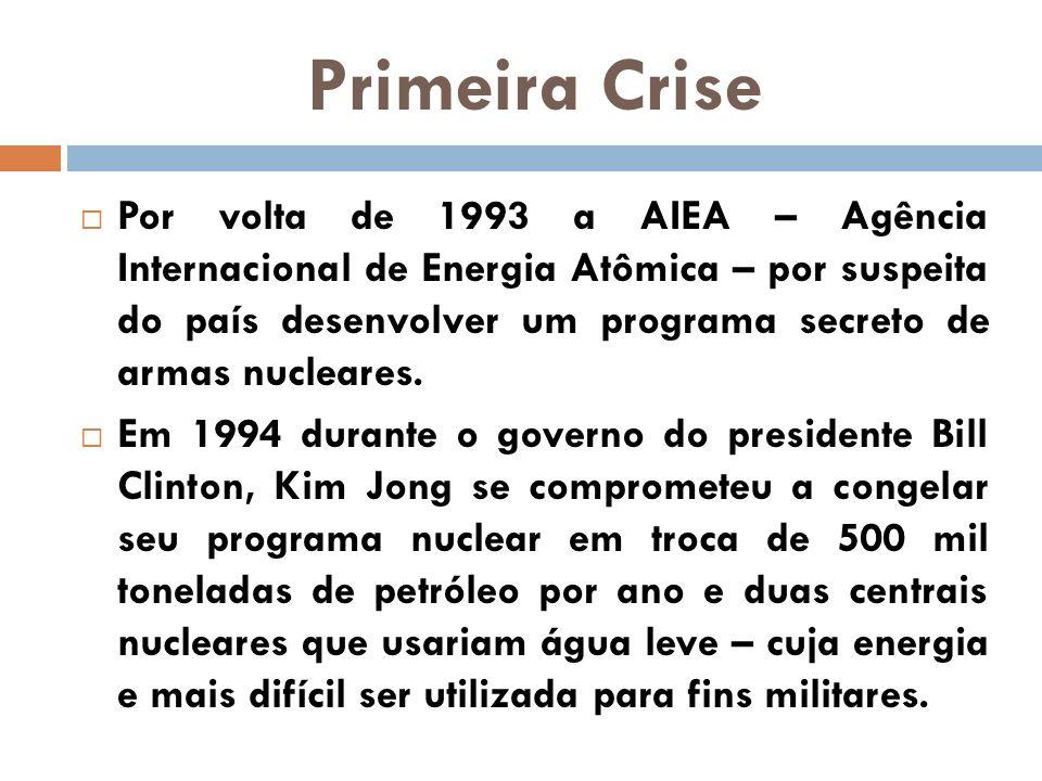 Primeira Crise Por volta de 1993 a AIEA – Agência Internacional de Energia Atômica – por suspeita do país desenvolver um programa secreto de armas nuc